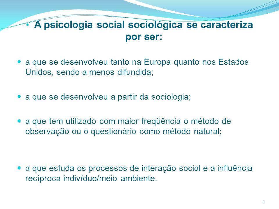 A psicologia social sociológica se caracteriza por ser: