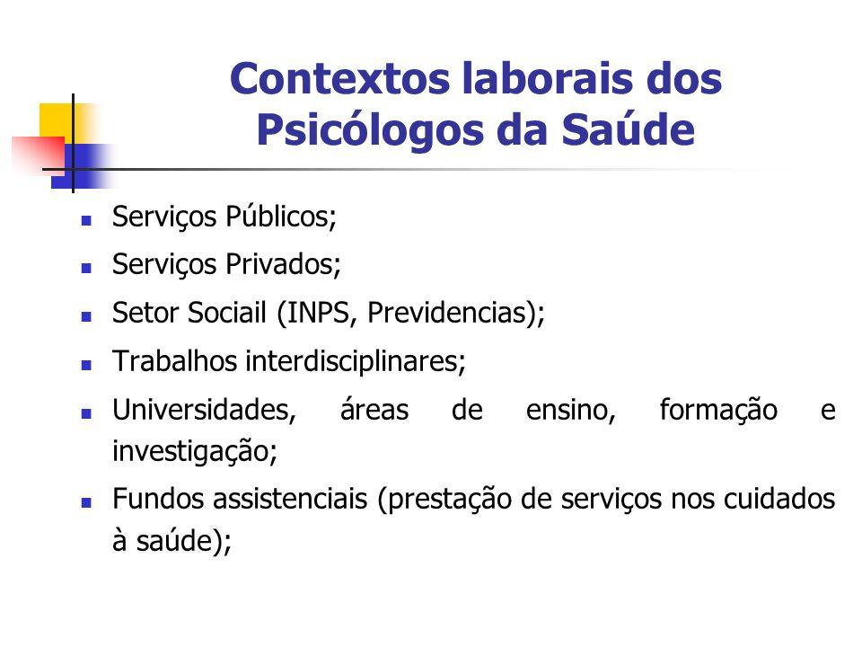 Contextos laborais dos Psicólogos da Saúde