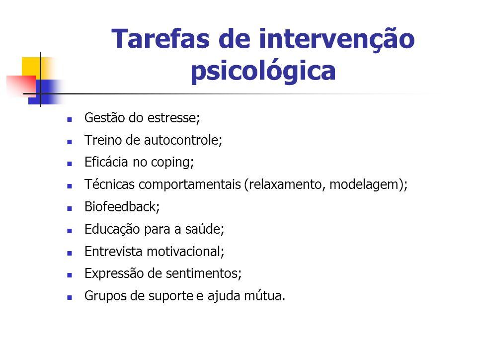 Tarefas de intervenção psicológica