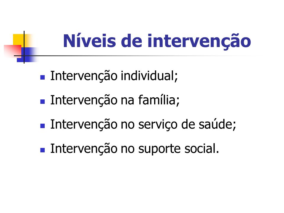 Níveis de intervenção Intervenção individual; Intervenção na família;