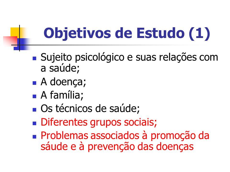 Objetivos de Estudo (1) Sujeito psicológico e suas relações com a saúde; A doença; A família; Os técnicos de saúde;