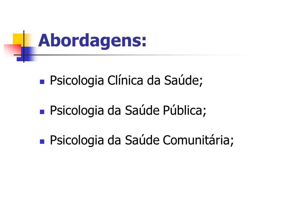 Abordagens: Psicologia Clínica da Saúde; Psicologia da Saúde Pública;