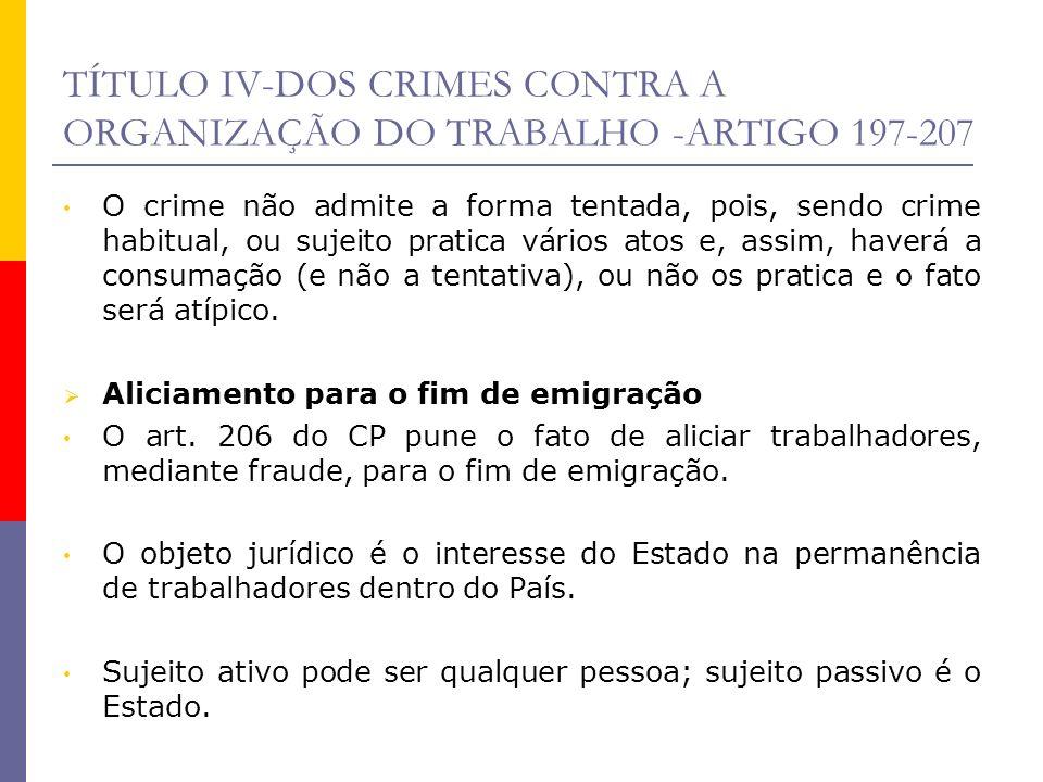 TÍTULO IV-DOS CRIMES CONTRA A ORGANIZAÇÃO DO TRABALHO -ARTIGO 197-207