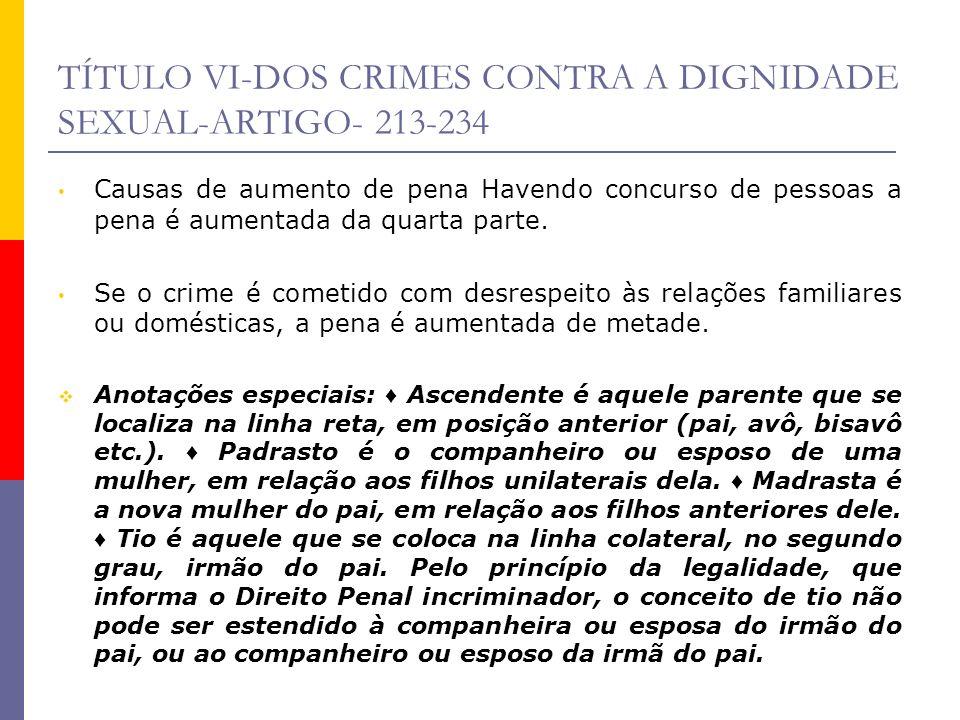 TÍTULO VI-DOS CRIMES CONTRA A DIGNIDADE SEXUAL-ARTIGO- 213-234