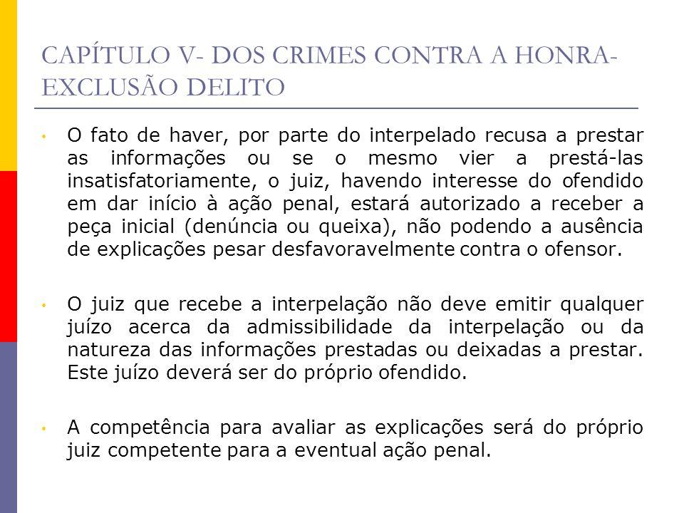 CAPÍTULO V- DOS CRIMES CONTRA A HONRA-EXCLUSÃO DELITO