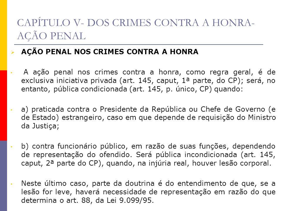 CAPÍTULO V- DOS CRIMES CONTRA A HONRA-AÇÃO PENAL
