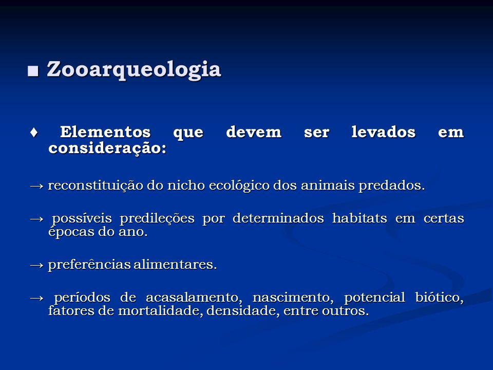 ■ Zooarqueologia ♦ Elementos que devem ser levados em consideração:
