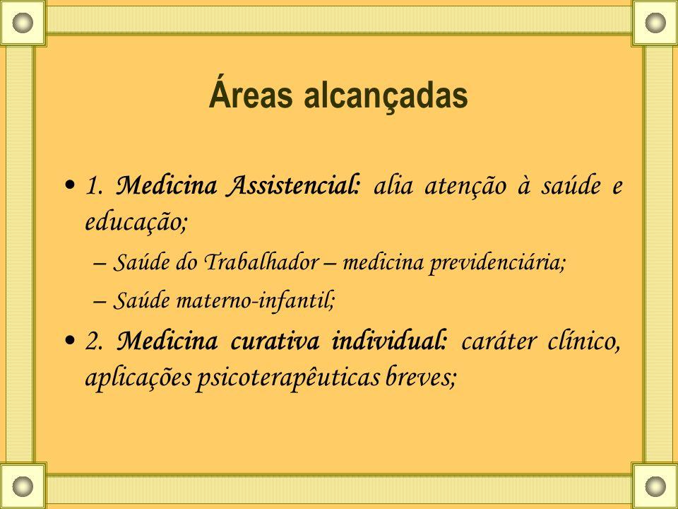Áreas alcançadas 1. Medicina Assistencial: alia atenção à saúde e educação; Saúde do Trabalhador – medicina previdenciária;