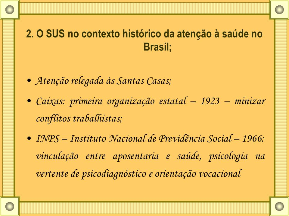 2. O SUS no contexto histórico da atenção à saúde no Brasil;