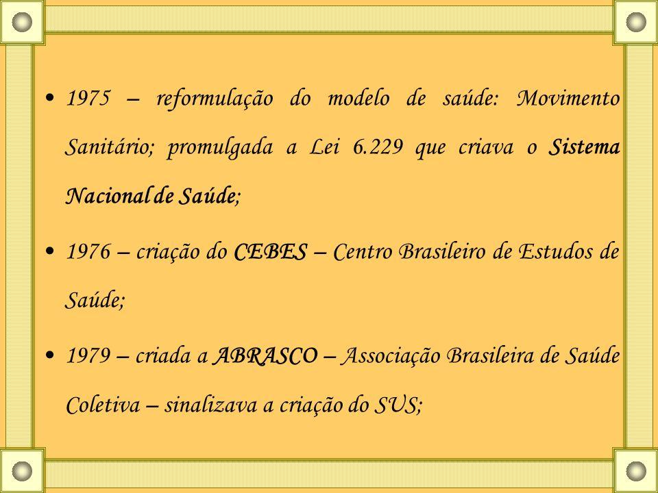 1975 – reformulação do modelo de saúde: Movimento Sanitário; promulgada a Lei 6.229 que criava o Sistema Nacional de Saúde;