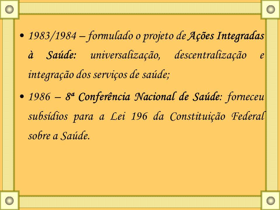 1983/1984 – formulado o projeto de Ações Integradas à Saúde: universalização, descentralização e integração dos serviços de saúde;