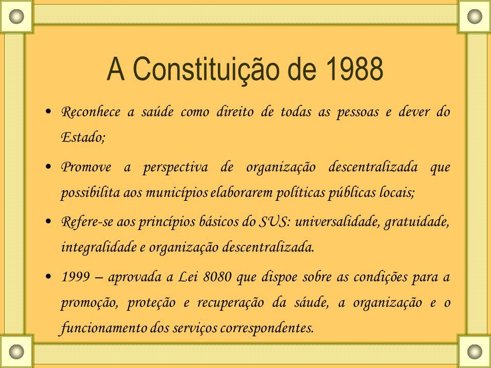 A Constituição de 1988 Reconhece a saúde como direito de todas as pessoas e dever do Estado;