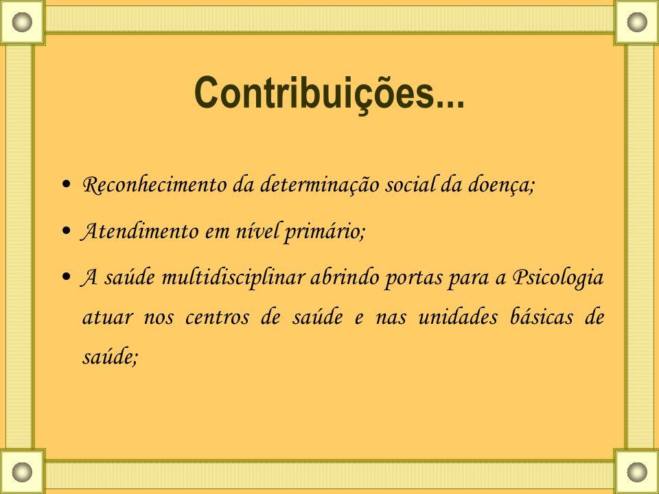 Contribuições... Reconhecimento da determinação social da doença;