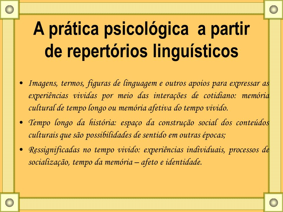 A prática psicológica a partir de repertórios linguísticos