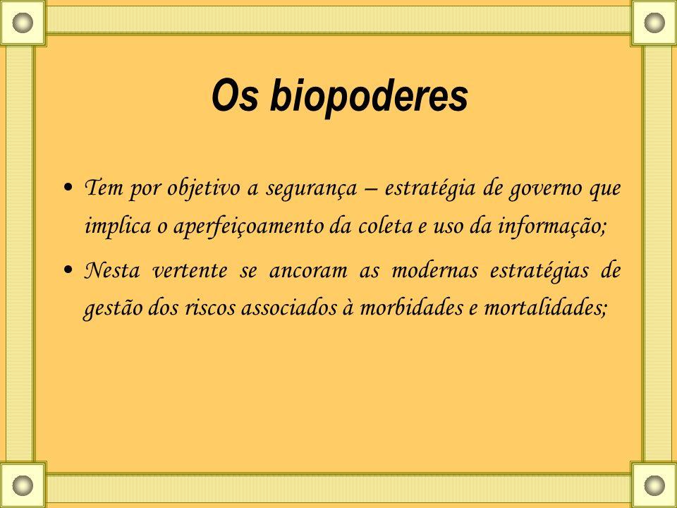 Os biopoderes Tem por objetivo a segurança – estratégia de governo que implica o aperfeiçoamento da coleta e uso da informação;