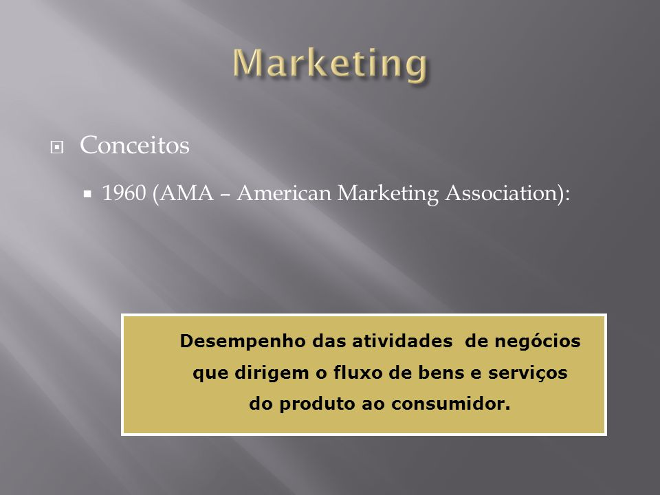 Marketing Conceitos 1960 (AMA – American Marketing Association):