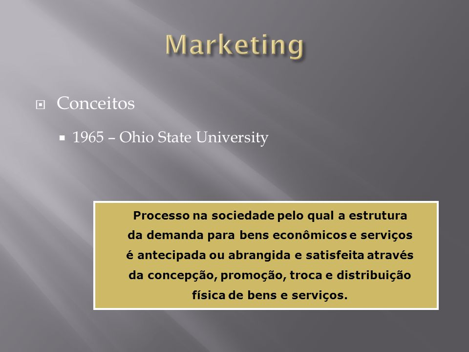 Marketing Conceitos 1965 – Ohio State University