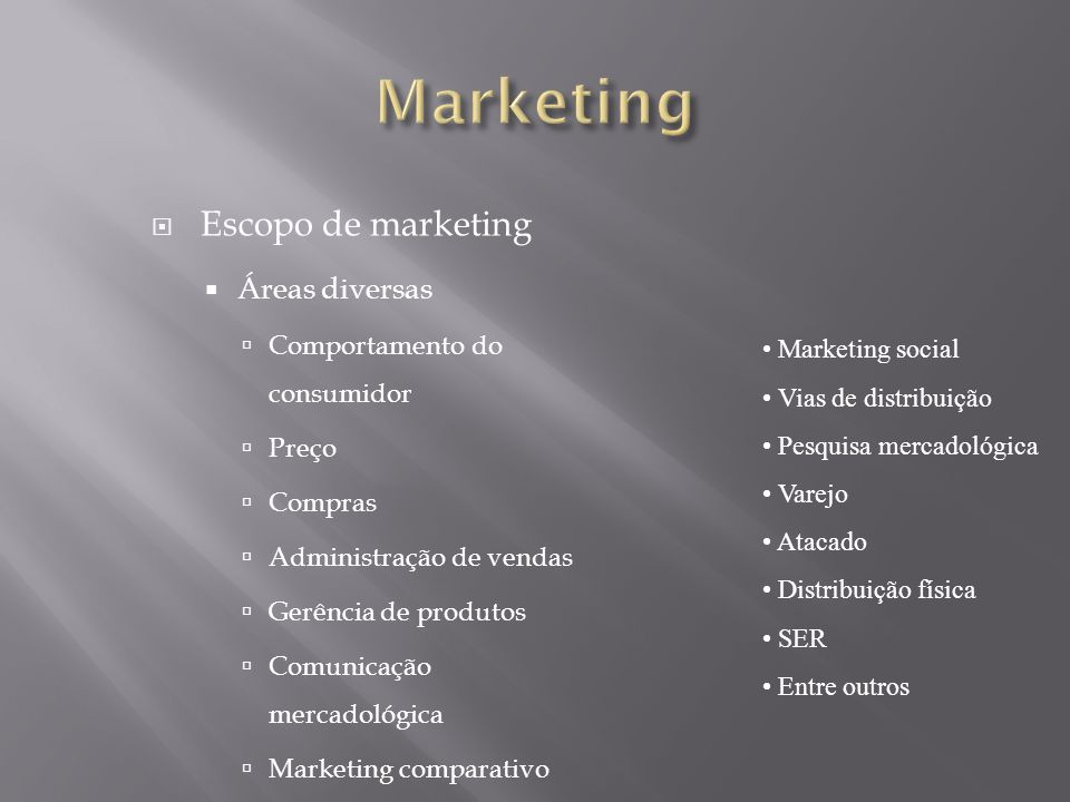 Marketing Escopo de marketing Áreas diversas