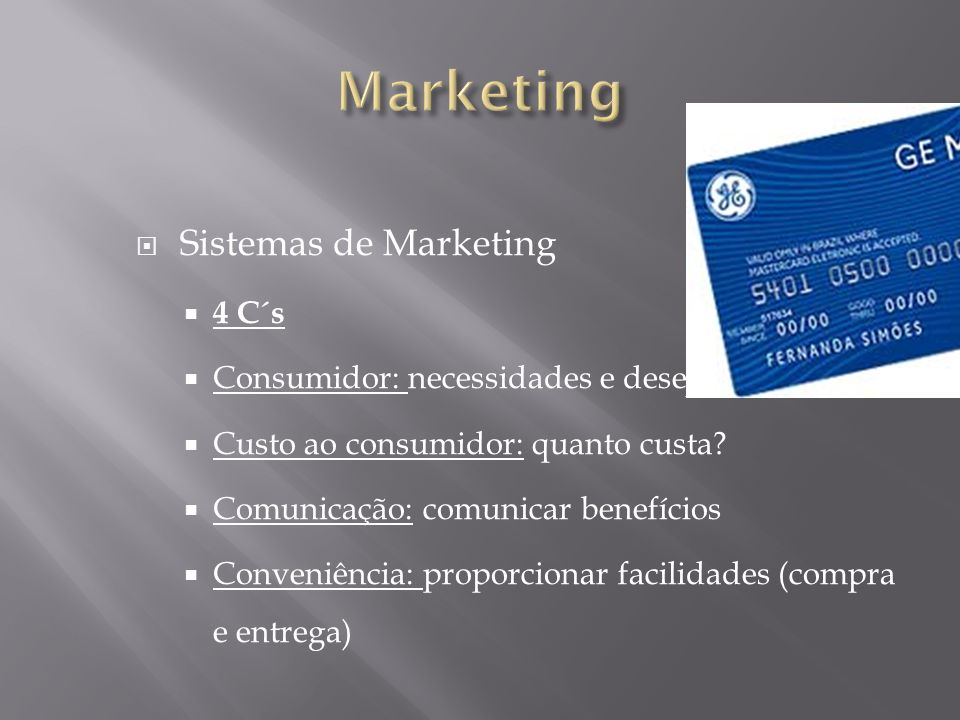 Marketing Sistemas de Marketing 4 C´s