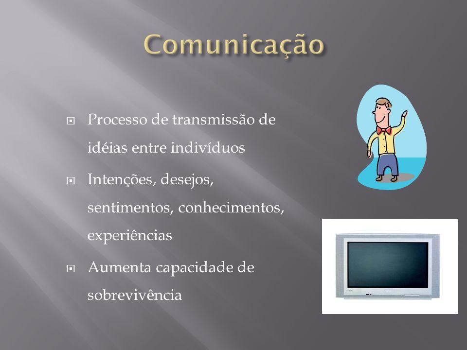 Comunicação Processo de transmissão de idéias entre indivíduos