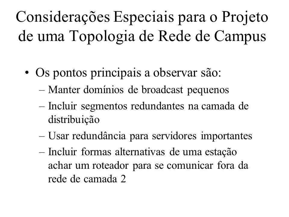 Considerações Especiais para o Projeto de uma Topologia de Rede de Campus