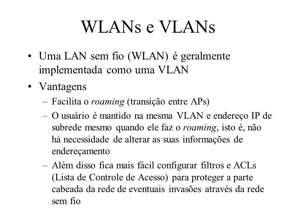 WLANs e VLANs Uma LAN sem fio (WLAN) é geralmente implementada como uma VLAN. Vantagens. Facilita o roaming (transição entre APs)