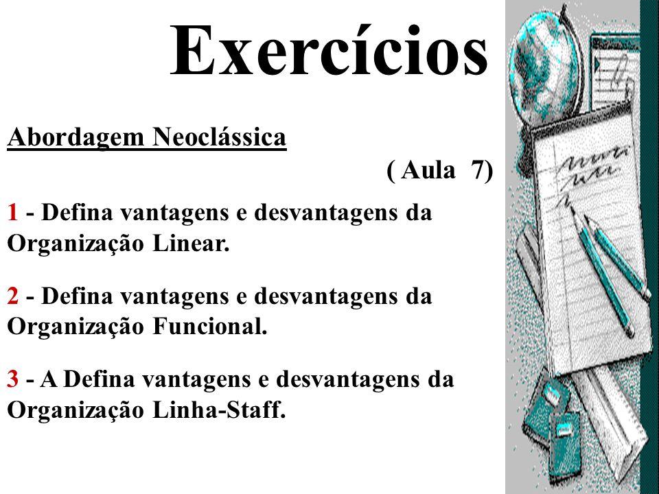 Exercícios Abordagem Neoclássica ( Aula 7)