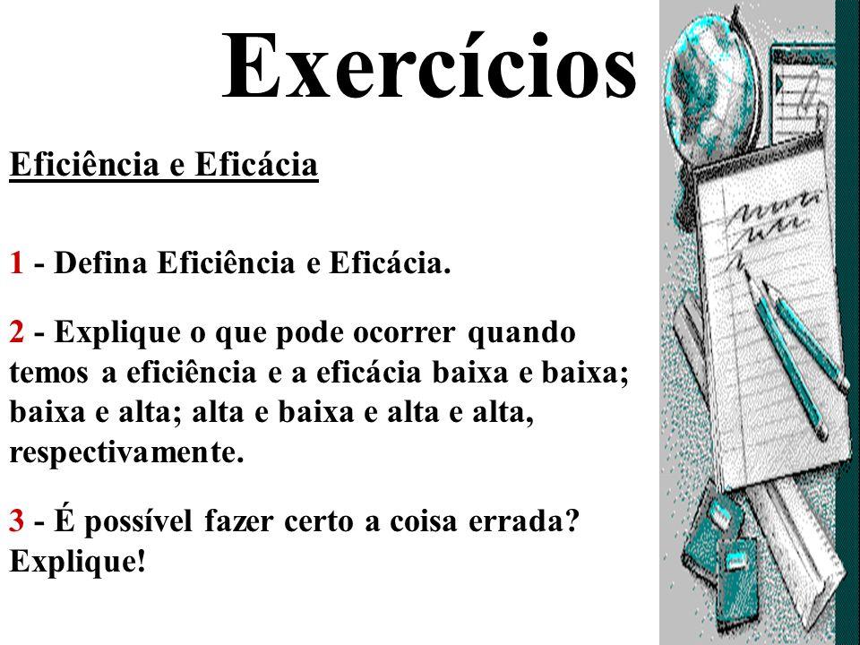 Exercícios Eficiência e Eficácia 1 - Defina Eficiência e Eficácia.