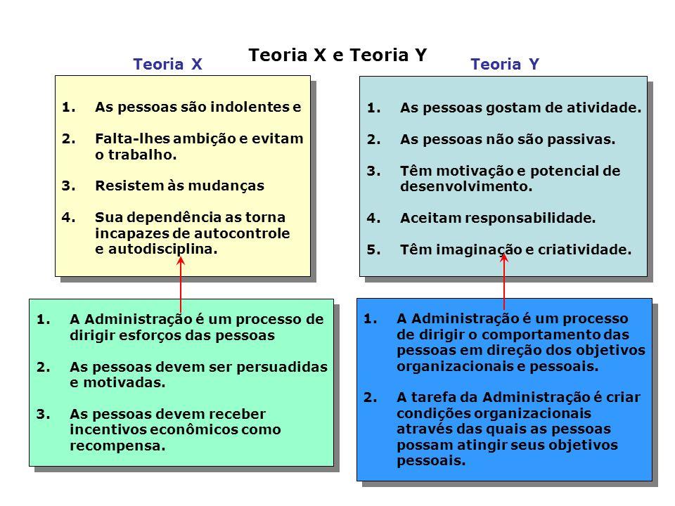 Teoria X e Teoria Y Teoria X Teoria Y As pessoas são indolentes e