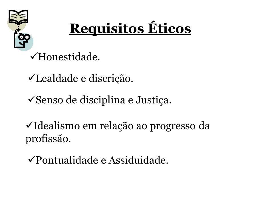 Requisitos Éticos Honestidade. Lealdade e discrição.