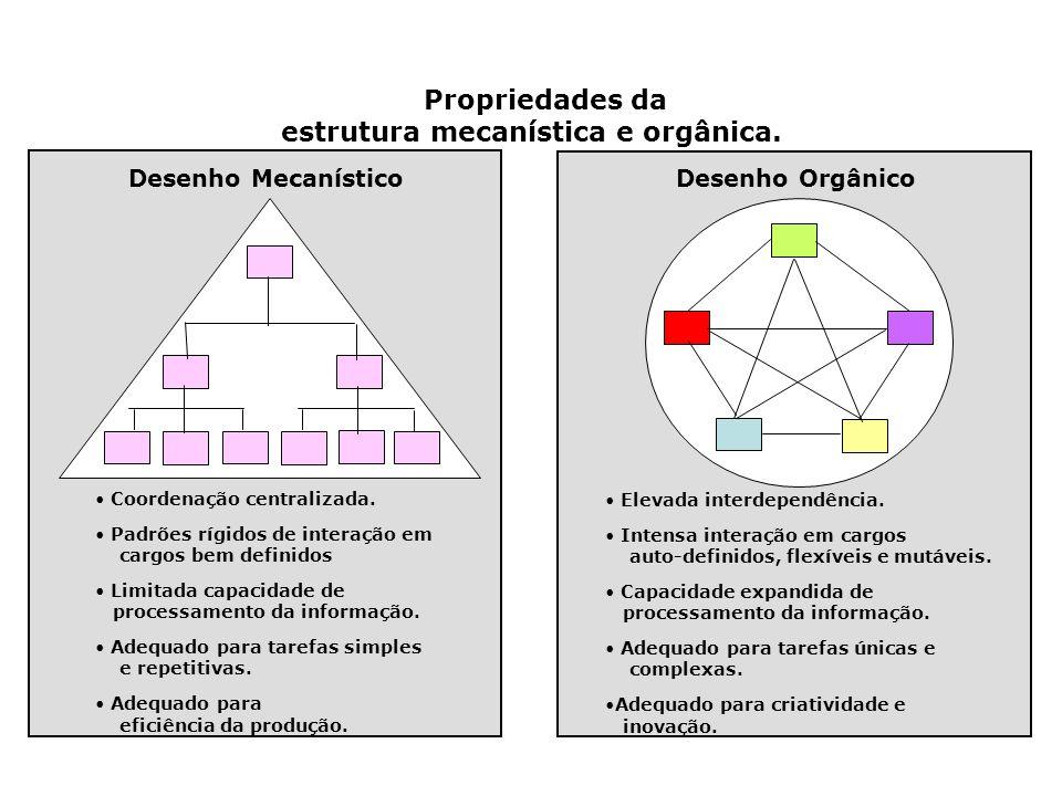 estrutura mecanística e orgânica.