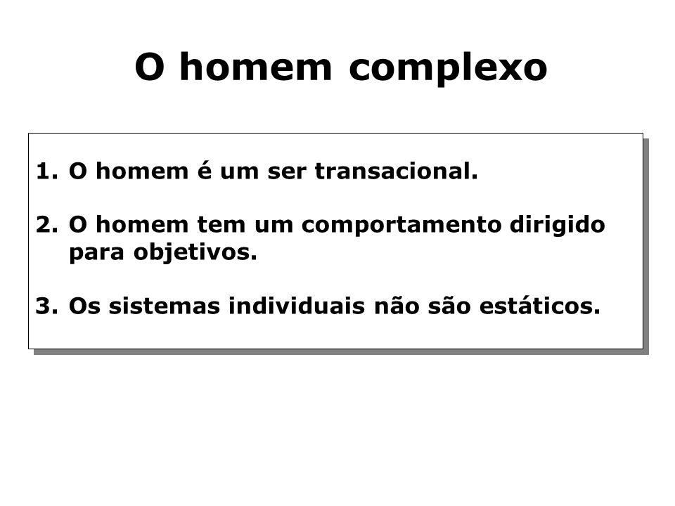 O homem complexo O homem é um ser transacional.
