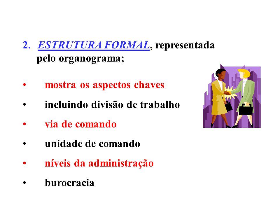 2. ESTRUTURA FORMAL, representada pelo organograma;