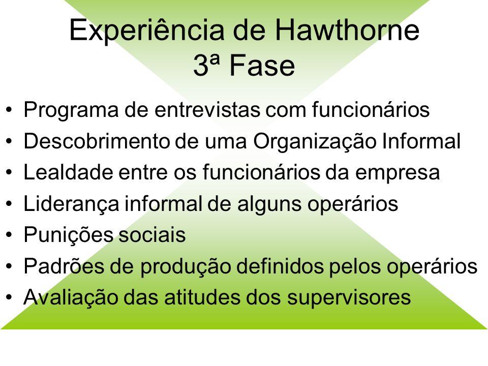 Experiência de Hawthorne 3ª Fase