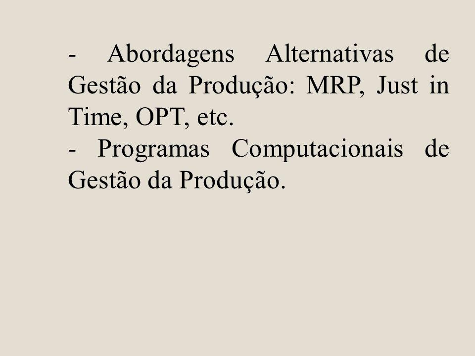 - Abordagens Alternativas de Gestão da Produção: MRP, Just in Time, OPT, etc.