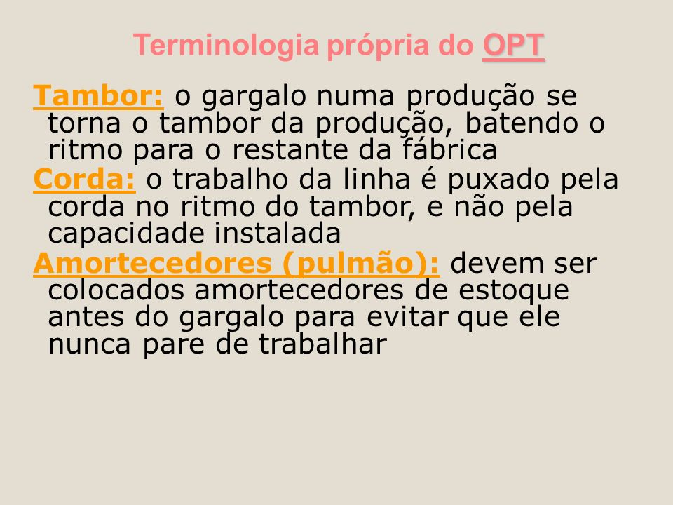 Terminologia própria do OPT