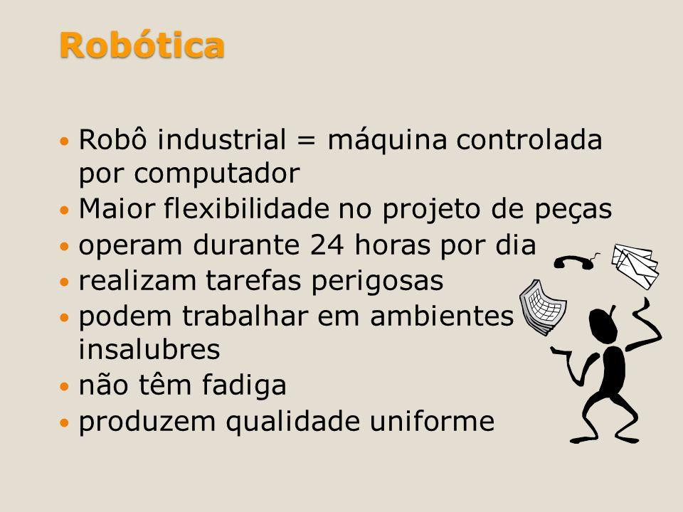 Robótica Robô industrial = máquina controlada por computador