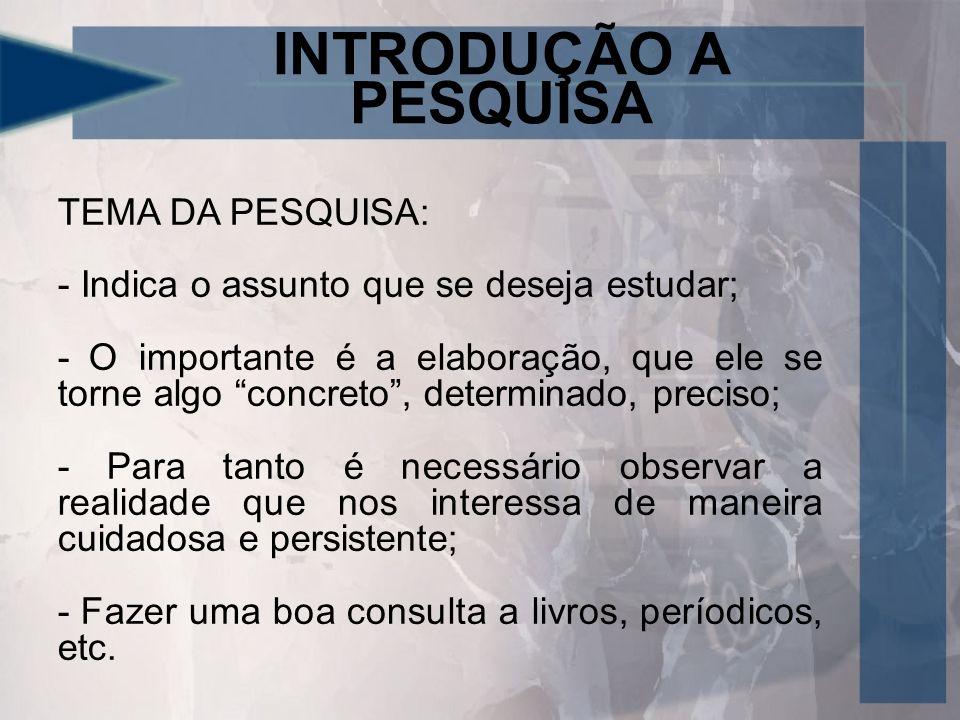 INTRODUÇÃO A PESQUISA TEMA DA PESQUISA:
