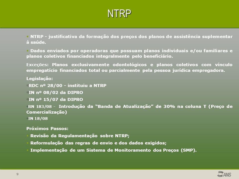 NTRPNTRP - justificativa da formação dos preços dos planos de assistência suplementar à saúde.