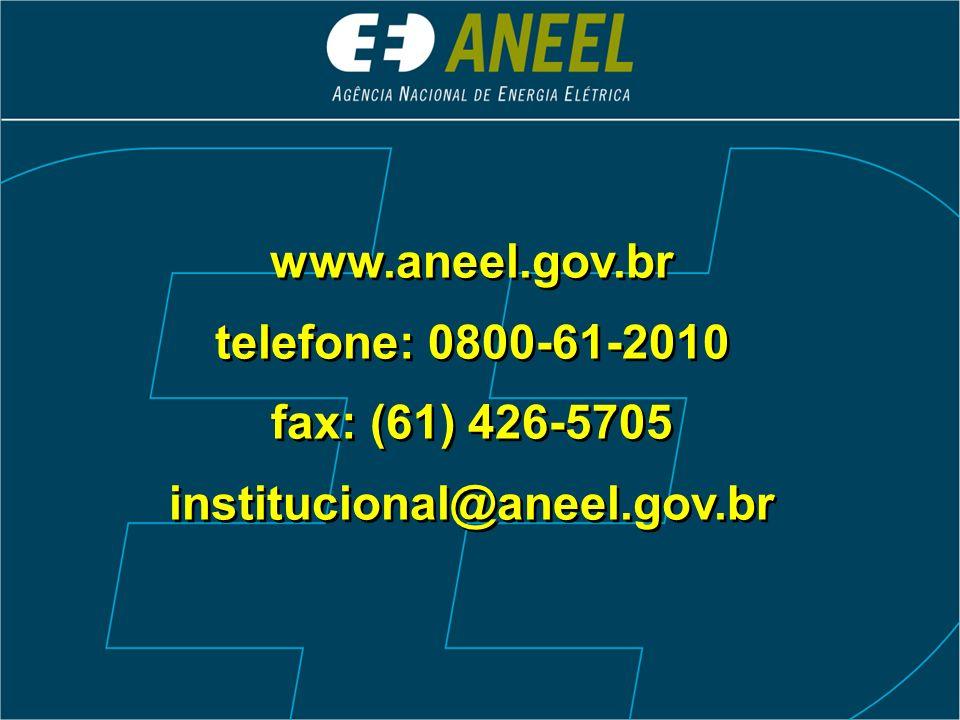 www.aneel.gov.br telefone: 0800-61-2010 fax: (61) 426-5705 institucional@aneel.gov.br