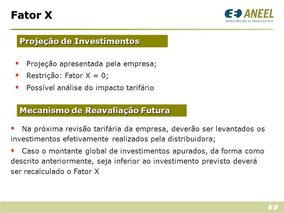 Fator X Projeção de Investimentos Mecanismo de Reavaliação Futura