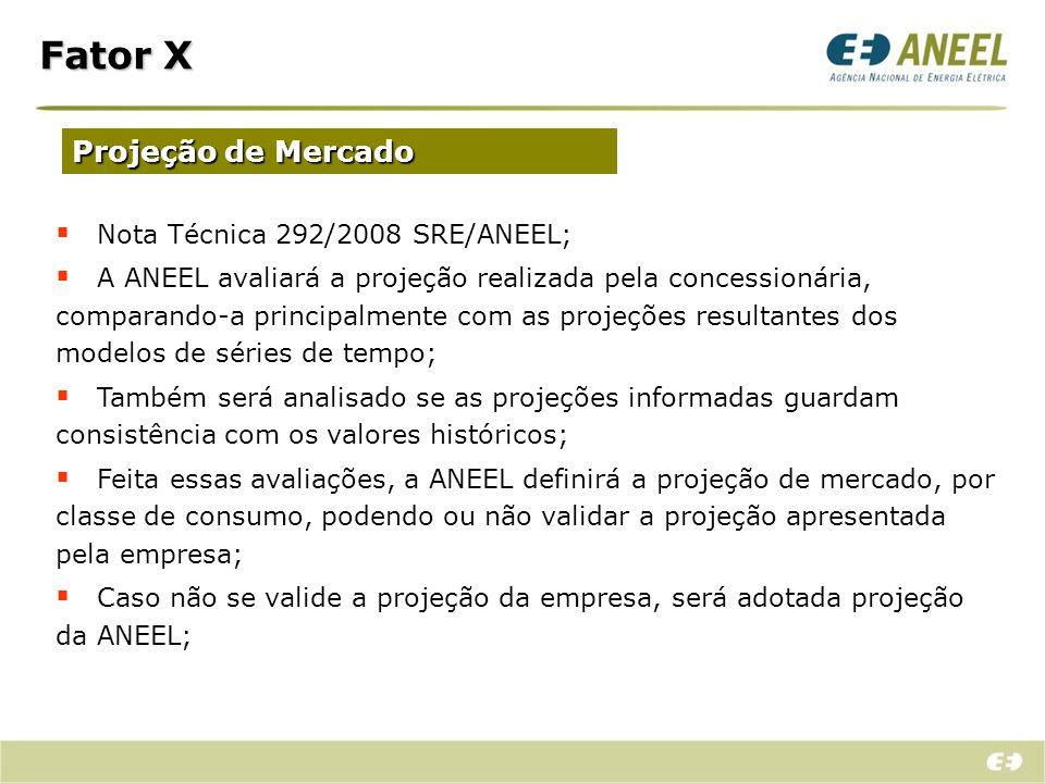 Fator X Projeção de Mercado Nota Técnica 292/2008 SRE/ANEEL;