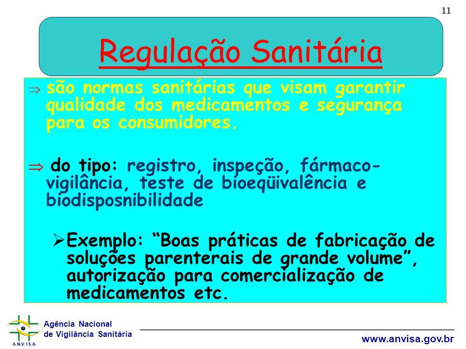 11 Regulação Sanitária.  são normas sanitárias que visam garantir qualidade dos medicamentos e segurança para os consumidores.