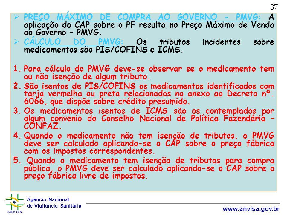 37 PREÇO MÁXIMO DE COMPRA AO GOVERNO - PMVG: A aplicação do CAP sobre o PF resulta no Preço Máximo de Venda ao Governo – PMVG.