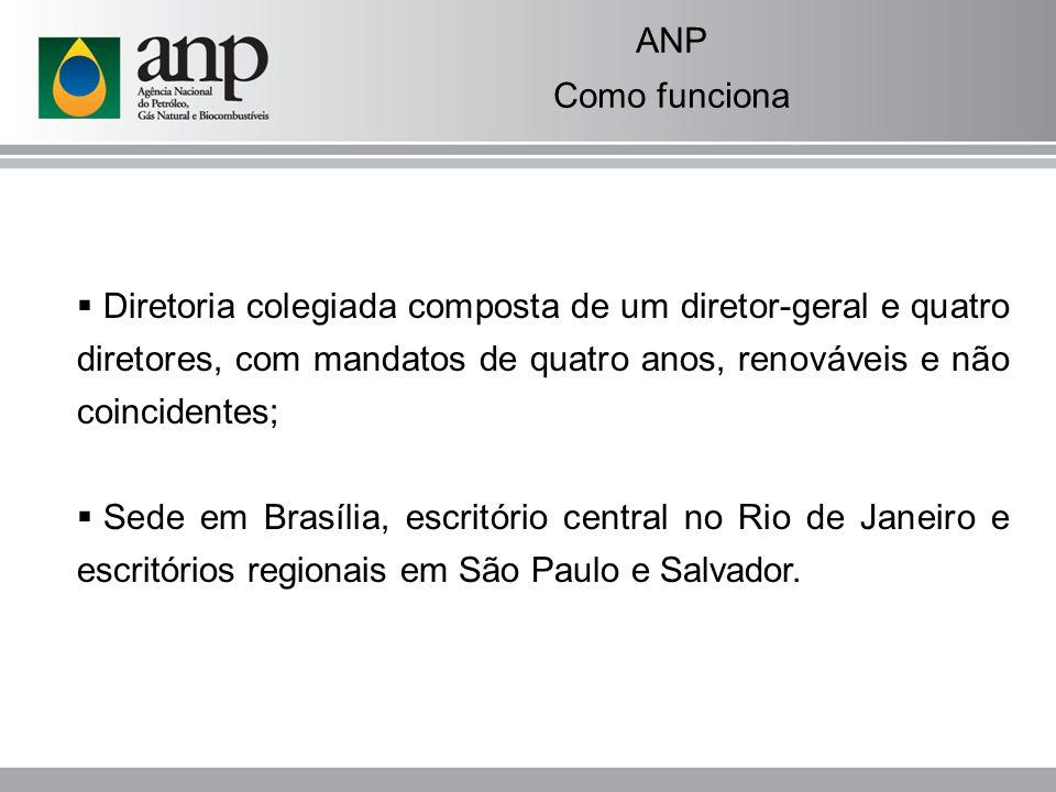 ANP Como funciona. Diretoria colegiada composta de um diretor-geral e quatro diretores, com mandatos de quatro anos, renováveis e não coincidentes;