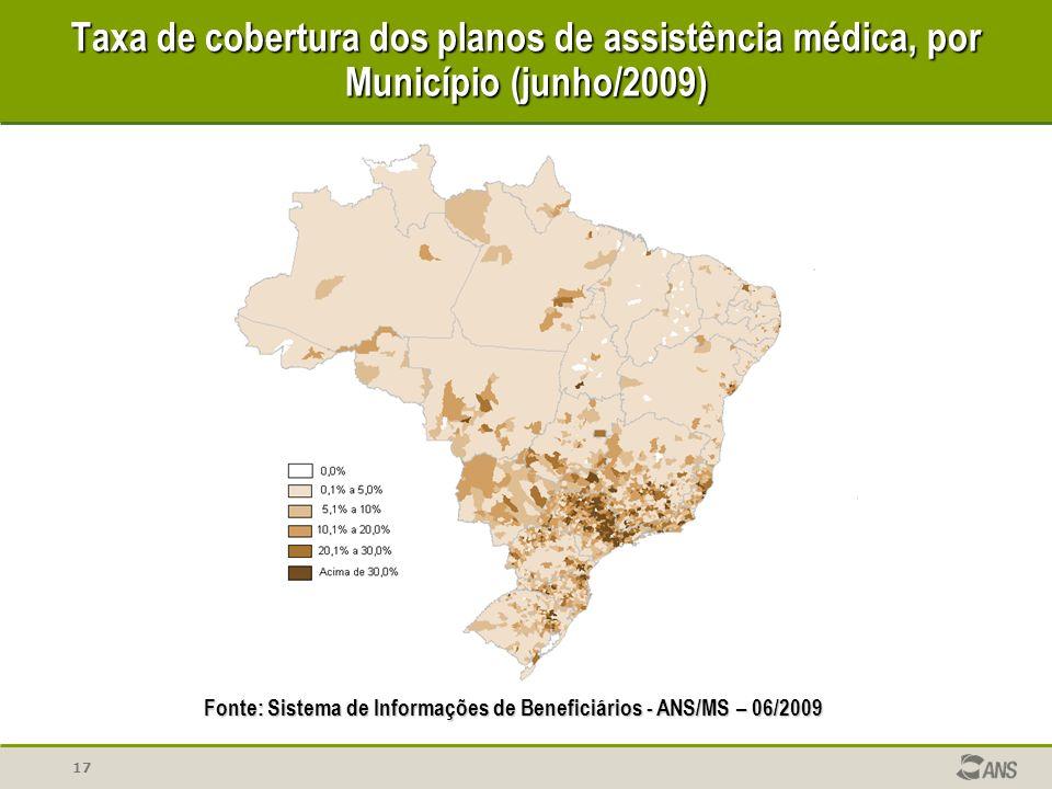 Taxa de cobertura dos planos de assistência médica, por Município (junho/2009)