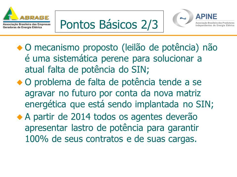 Pontos Básicos 2/3 O mecanismo proposto (leilão de potência) não é uma sistemática perene para solucionar a atual falta de potência do SIN;