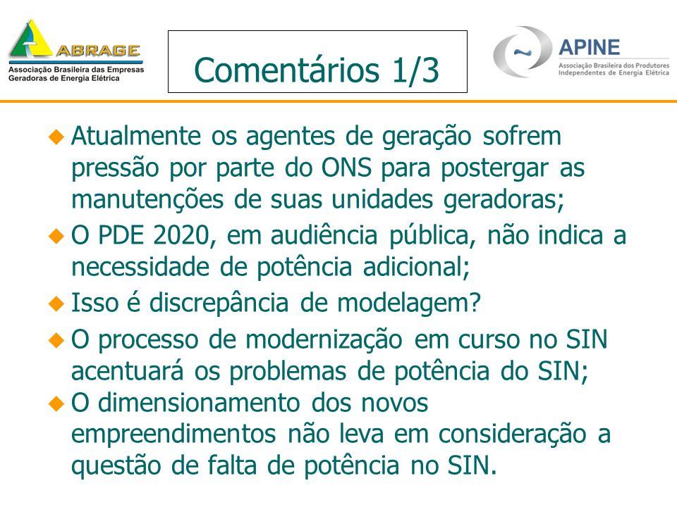 Comentários 1/3 Atualmente os agentes de geração sofrem pressão por parte do ONS para postergar as manutenções de suas unidades geradoras;