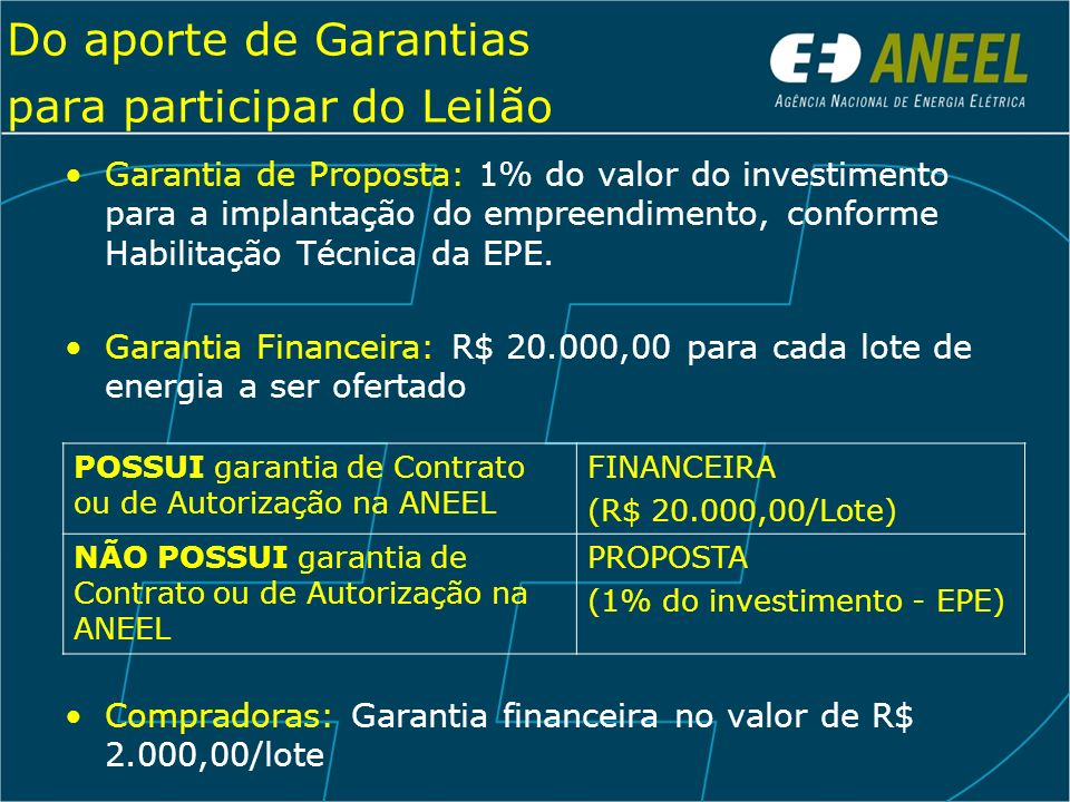 Do aporte de Garantias para participar do Leilão