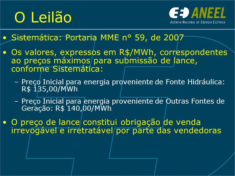 O Leilão Sistemática: Portaria MME n° 59, de 2007